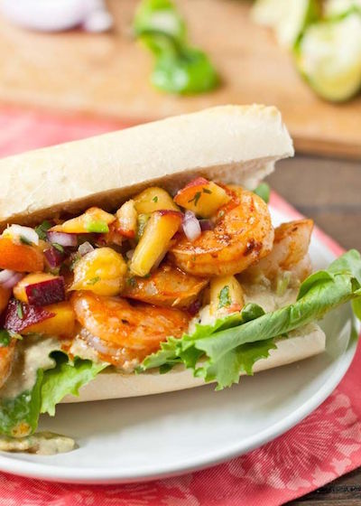 Chipotle Shrimp Sandwiches with Jalapeño Peach Salsa and Avocado Mayo