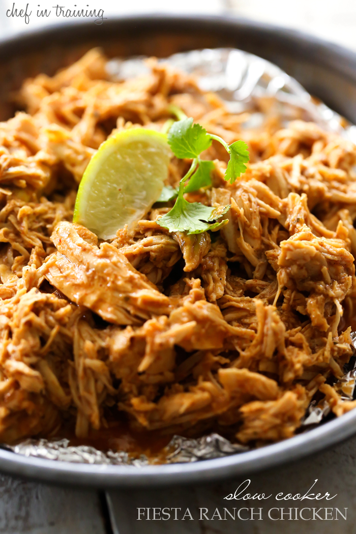 Slow Cooker Fiesta Ranch Chicken...  This chicken is SO delicious and is completely universal for however you want to use it! It is packed with flavor and goes perfectly in any type of Mexican meal!