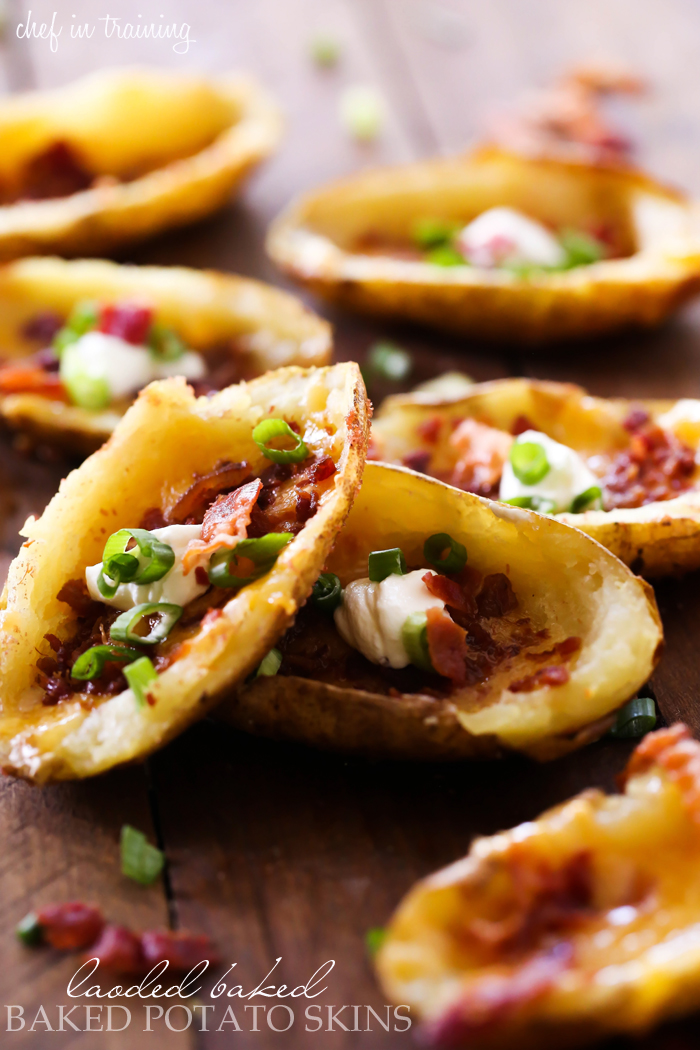 Loaded Baked Potato Skins... these are SO easy to make and are a perfect appetizer! They are crisp and packed with flavor!