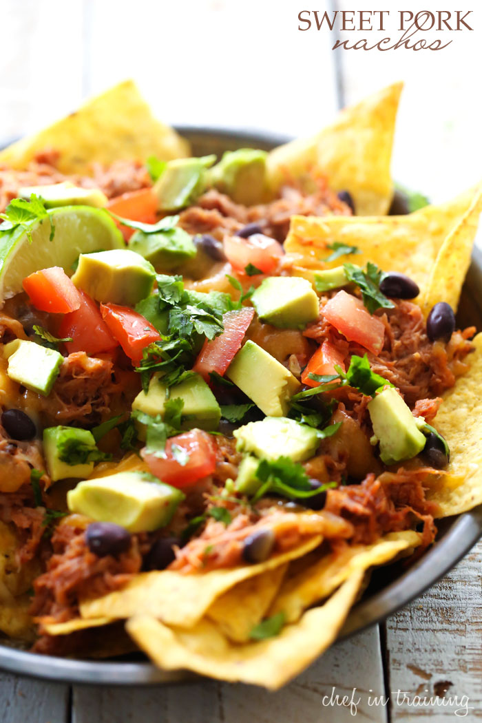 Sweet Pork Nachos... the sweet pork in this recipe is FABULOUS! It is SO easy to make and the flavor is OUTSTANDING! It makes this one unforgettable nacho recipe!
