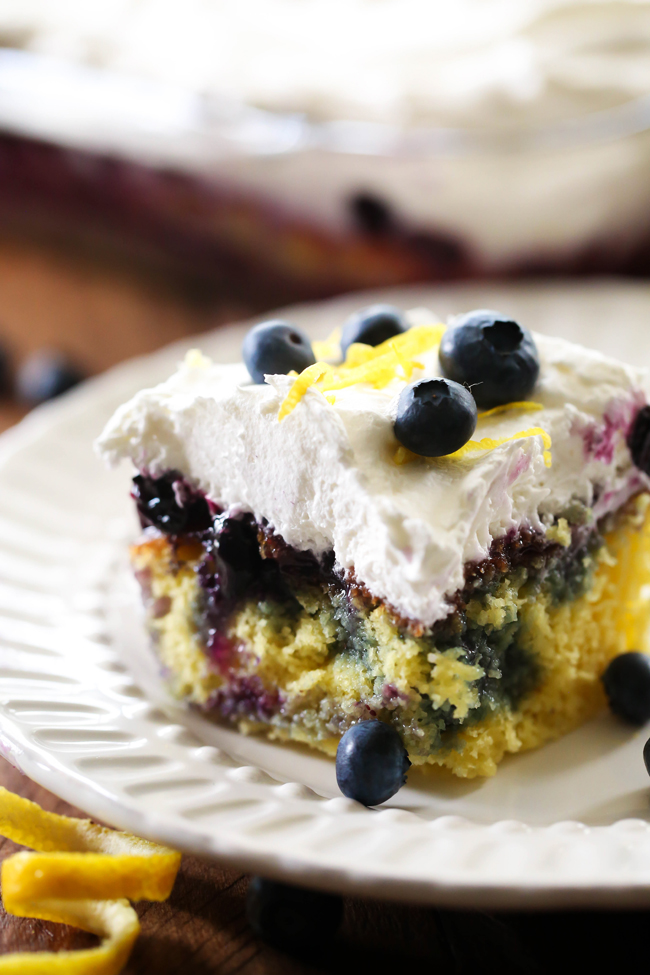 Lemon And Blueberry Poke Cake