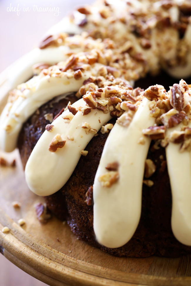 This Carrot Bundt Cake is perfect for fall! Perfectly moist and the cream cheese frosting on top is outrageously yummy!