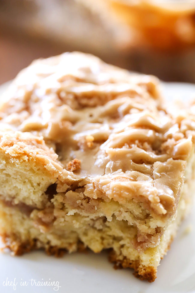 Caramel Apple Crumb Breakfast Cake... This recipe is absolutely DELICIOUS! Apple cake with crumb mixture swirled both in the center and over the top and drizzled in the most amazing caramel glaze!