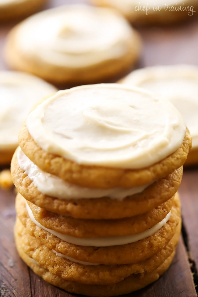 Soft Pumpkin Sugar Cookies With Caramel Cream Cheese Frosting These Will Be Some