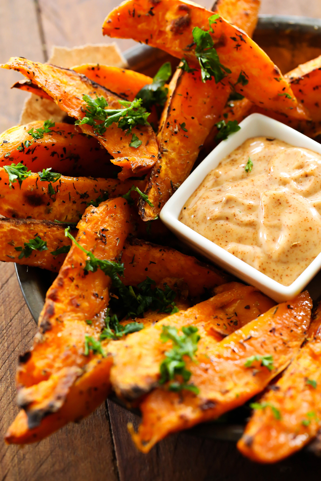 These Sweet Potato Wedges are SO yummy and the Honey Chipotle Dipping ...