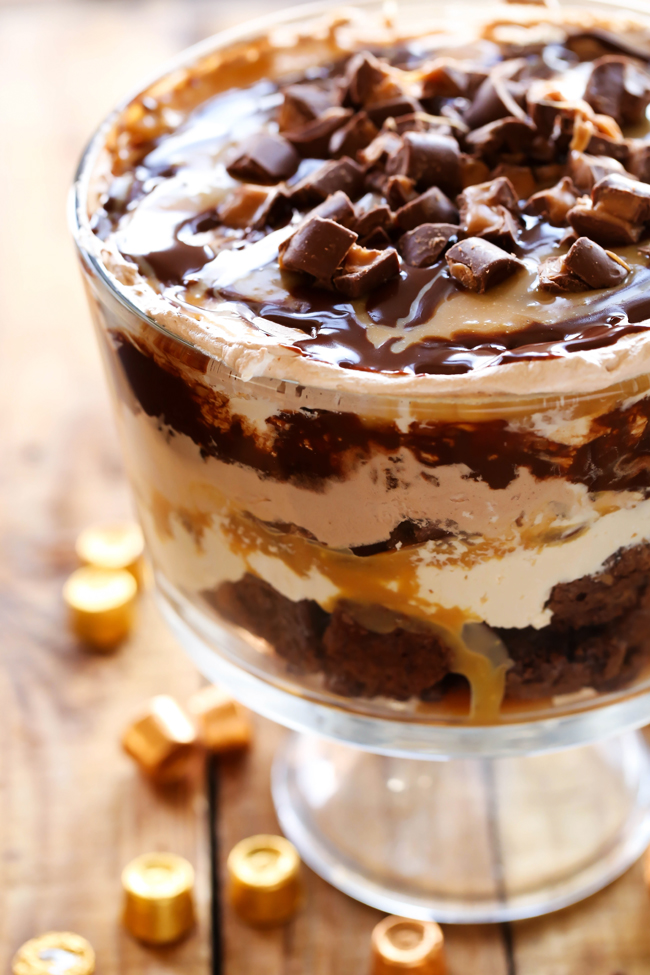 Caramel ROLO Brownie Trifle... This dessert is so incredibly rich and ...