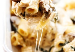 Chicken Spinach Mushroom Alfredo Casserole... This is such a flavorful and delicious meal that is really simple to make and packed with yummy ingredients! This will become a new favorite!
