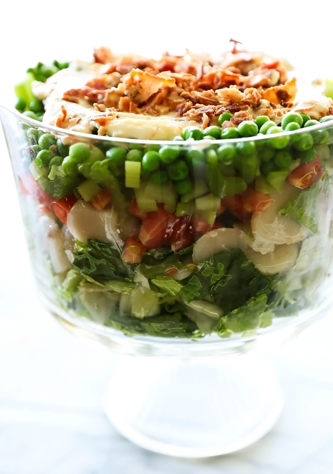 7 Layer Salad... This salad has layer upon layer of fresh and crisp veggies and is topped with the most incredible dressing. Not only is this salad a beautiful presentation, but it has a flavor to match!