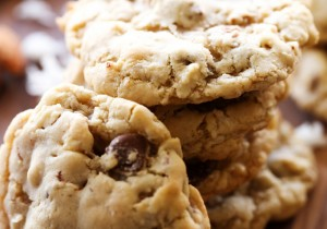 Almond Joy Cookies... A chewy and delicious cookies loaded with coconut, almonds and chocolate! It is such a flavor packed cookie that will become one of you most requested cookie recipes!