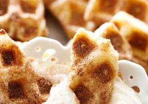 Churro Waffle Dippers... These are such a delicious and unique treat! They literally whip up in 5 minutes and are so fun for serving to a crowd! No one will ever guess what they are made out of!