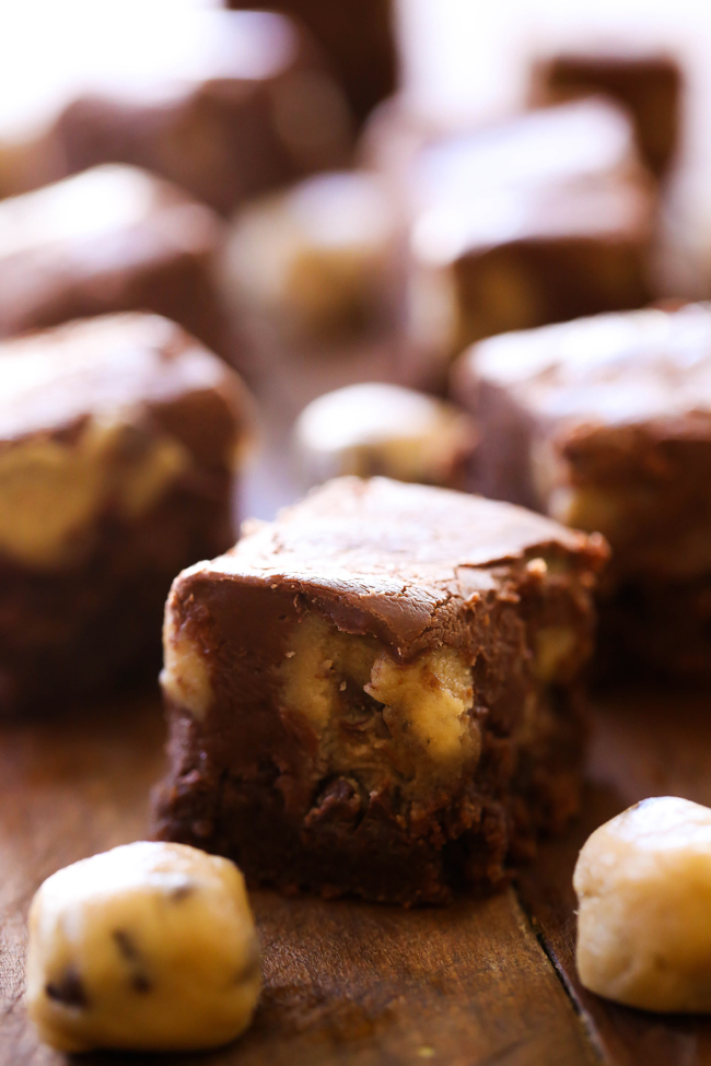 Cookie Dough Fudge.. A creamy chocolate fudge with bite sized pieces of cookie dough throughout. This is truly a delicious and incredible fudge recipe!