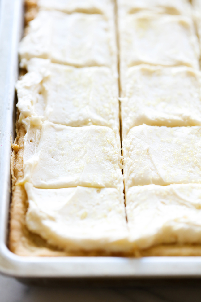 Lemon Sugar Cookie Bars... These Lemon Sugar Cookie Bars are so soft and have such a light and refreshing flavor! The frosting on top is the perfect finishing touch for a delightful and tasty dessert!