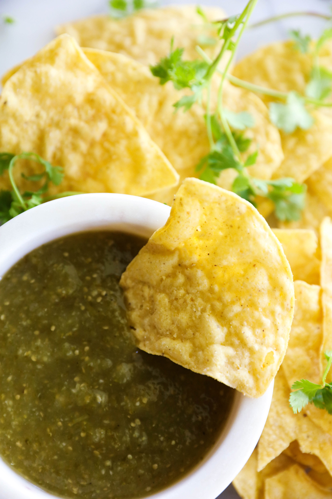 Green Tomatillo Salsa... A delicious and flavorful green salsa that is loaded with delicious ingredients and has such a fresh flavor!