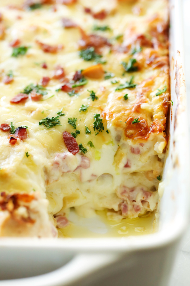 This Chicken Cordon Bleu Lasagna is a creamy and delicious meal that will become an instant family favorite! It is loaded with chicken, ham, bacon and a tasty cream cheese sauce that will blow your mind!