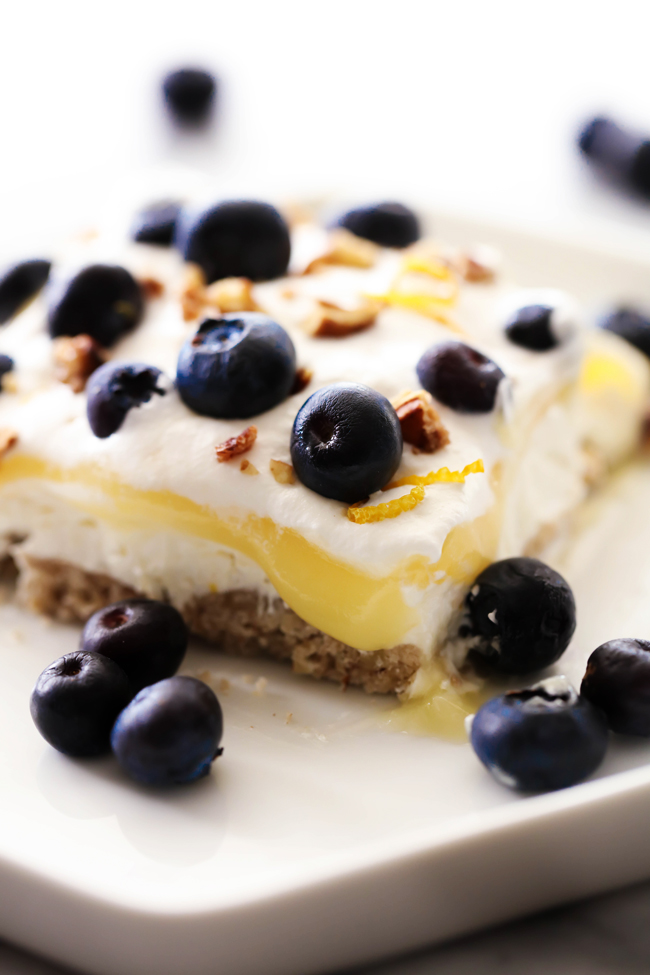 This Lemon Blueberry Dream is layer upon layer of heaven! It has a fabulous crust and various creamy layers that combine so perfectly! It has a light flavor from the lemon and topped with juicy blueberries on top.