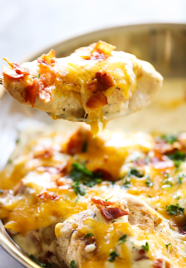 This Skillet Cheddar Bacon Ranch Chicken is so flavorful and so delicious! It will become an instant new family favorite! The flavors and ingredients work so well together!