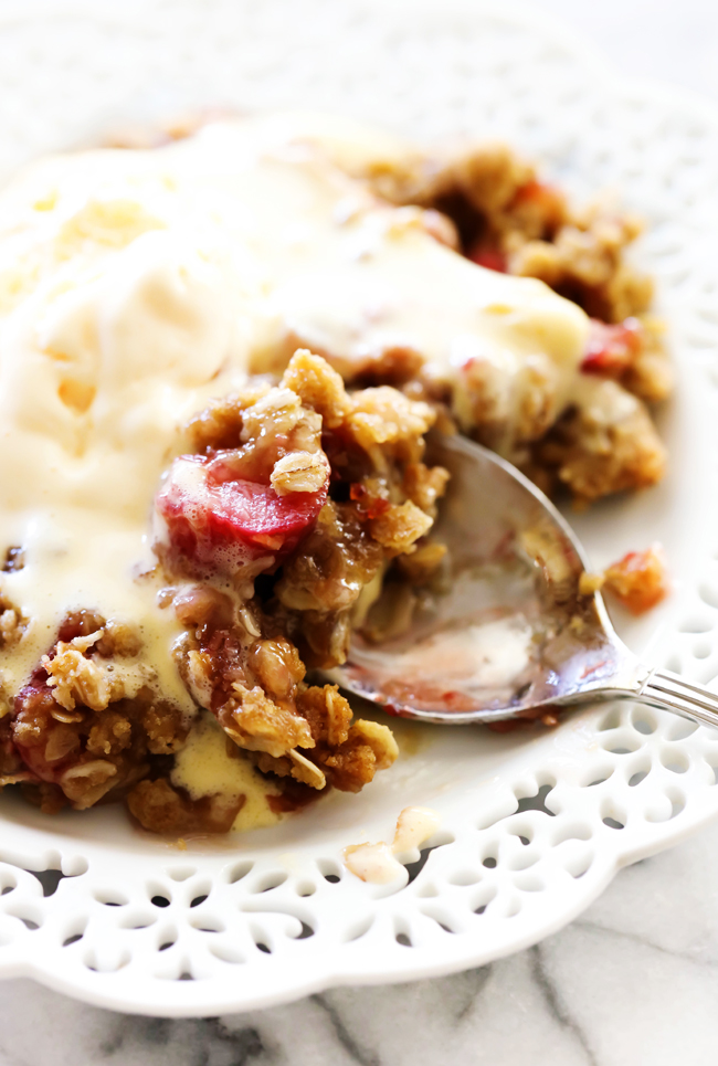 This Strawberry Rhubarb Crisp is full of flavor and texture! It receives rave reviews by all who try it. The crumb topping on top is perfection. This will be one of THE BEST crisps you ever try!