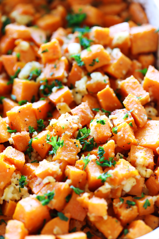 This Cotija Sweet Potato Side Dish is so easy and packed with delicious flavor! This is a perfect side dish for almost any meal and is seasoned to perfection.