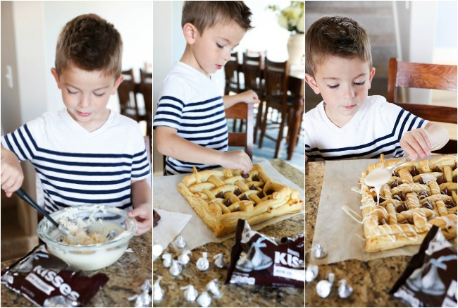 This HERSHEY'S KISSES Cream Cheese Pastry consists of buttery flaky puff pastry, a delicious cream cheese filling, is topped with HERSHEY'S KISSES Chocolates and drizzled with a creamy glaze. This dessert whips up in no time at all and tastes incredible! #sponsored HERSHEY'S Chocolate