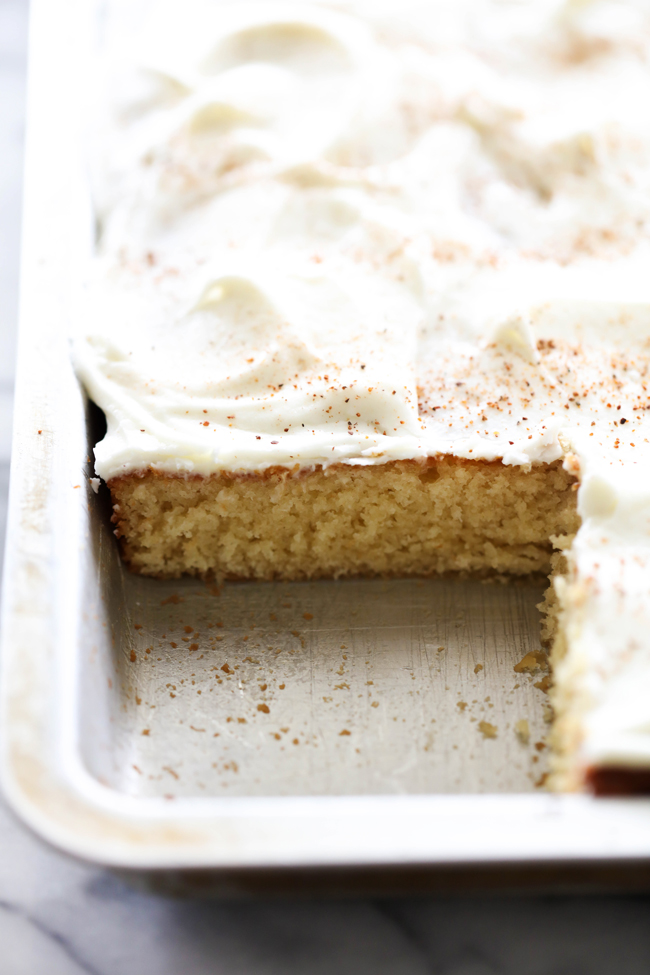 This Eggnog Sheet Cake is perfect for the holiday season! Even if you don't care for eggnog, you will LOVE this cake! It is so moist and the flavor is a fabulous addition. This cake is melt-in-your-mouth DELICIOUS!