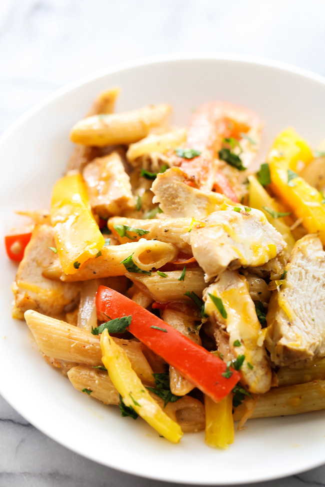 This Chicken Fajita Pasta Casserole is easy and loaded with delicious flavor and yummy ingredients. It is a great meal for any night of the week!