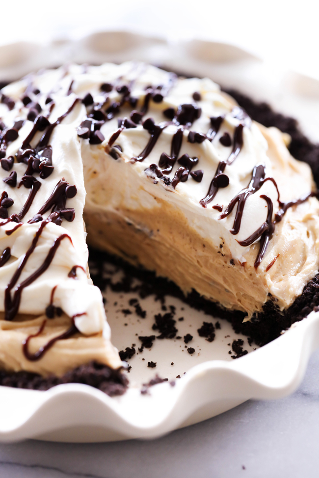 This Chocolate Peanut Butter Cream Pie is a show stopper! The amount of peanut butter flavor is perfection and wonderfully paired with a simple Oreo crust. The two together make for a heavenly bite each and every time!