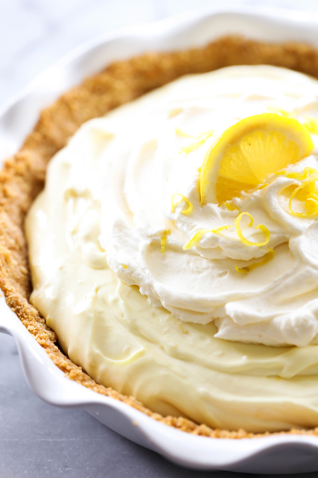 This Lemon Cream Pie has the perfect hint of lemon for a light refreshing taste that is balanced by a creamy silky base. It has a vanilla wafer crust that is a delightful compliment. This pie is adored by all who try it!