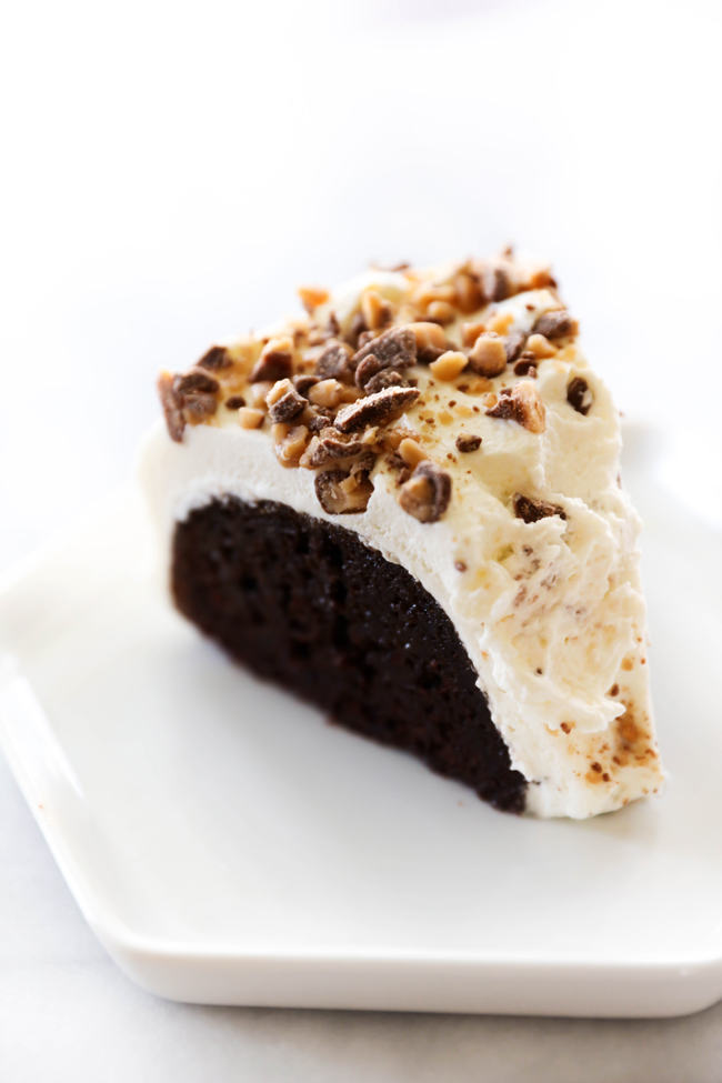 This Better Than Anything Bundt Cake is unbelievably yummy. With caramel and sweetened condensed milk pouring into each and every bite of the dense moist cake, this will be one of the dreamiest desserts you will ever try. The whipped cream and milk chocolate toffee bits compliment it wonderfully.