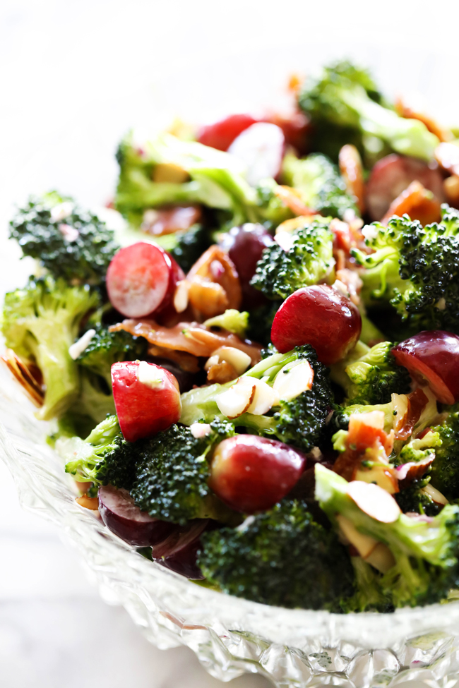 This Broccoli Almond Grape Salad is crisp and full of delicious ingredients. The dressing that coats each and every bite enhances each flavor in the best way possible. This salad is raved about by all who try it!