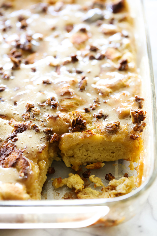 This Caramel Overnight French Toast Casserole is filled with a caramel taste and topped with the most delicious brown sugar syrup. This is a great breakfast to serve up for your family! It is a new family favorite!