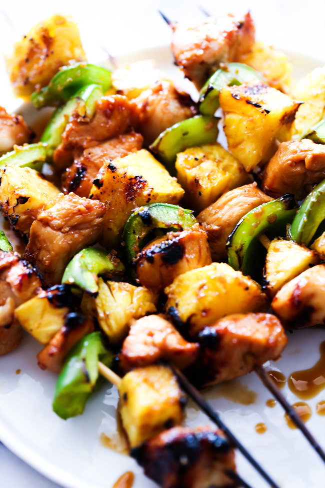 These Teriyaki Chicken Kabobs are mouthwatering delicious! They are prepped in a delicious marinade, paired with fresh pineapple and bell peppers and grilled to perfection!