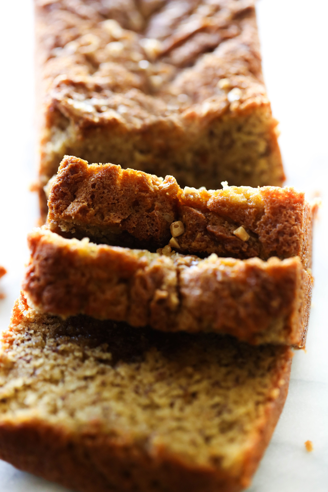 This Toffee Banana Bread begins with the best banana bread base. It is filled with delicious toffee that melts and creates a layer of perfection. It is also topped with additional toffee for added flavor and texture. This recipe is absolutely delicious!