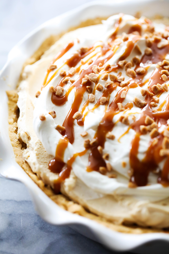 This Caramel Cream Pie is sweet and delicious! It has a toffee sugar cookie crust, a delicious creamy caramel filling. It it is topped with sweetened whipped cream, drizzled with caramel and garnished with additional toffee. If you love caramel, this is the pie for you!