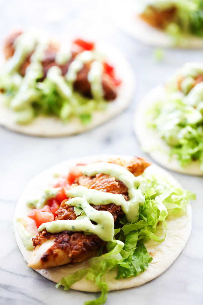 These Crispy Chicken Tacos are so simple to make. They are drizzled with a delicious homemade Avocado Dressing that helps make this recipe taste outstanding! It is perfect for lunch and/or dinner and will become a new favorite.