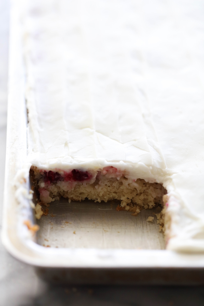 This Cranberry Apple Sheet Cake has a delicious balance of sweet and tart. The cake is moist and the almond flavored frosting is creamy, smooth and the perfect complimenting flavor. This cake is a holiday must try!