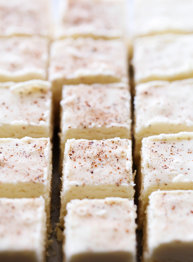 This Eggnog Fudge is creamy, smooth and has such a delicious holiday flavor. The eggnog really jazzes up such a simple fudge recipe and fills each bite with remarkable holiday spices. It is so simple to whip up and makes for a great treat for all to enjoy!