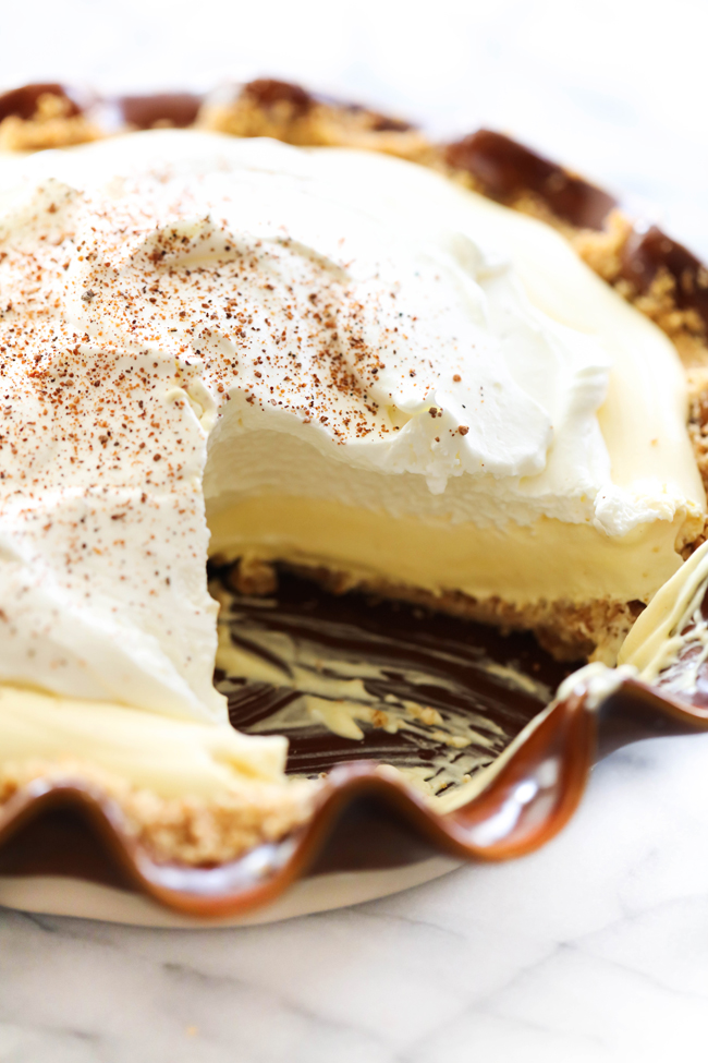This Eggnog Cream Pie will soon become a holiday staple. It has a vanilla wafer crust with a creamy filling that has the perfect amount of eggnog flavor. This is a fabuloust dessert for holiday entertaining.