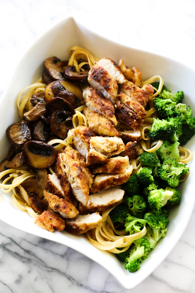 This Chicken Broccoli Mushroom Alfredo Pasta is such a flavorful dish. It is packed with perfectly sautéed mushrooms, tender broccoli and beautifully coated, battered and seasoned chicken. It is then topped with the best alfredo sauce. This will be one recipe you visit over and over again!