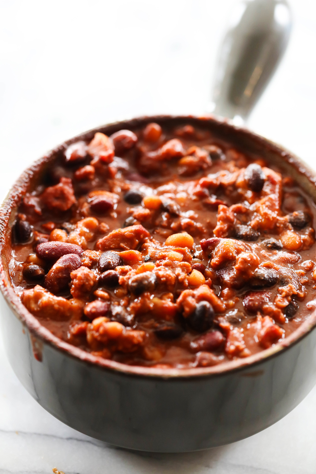 My Dad's Hearty Smokey Steak Chili is not your average bowl of chili! With steak cooked to perfection on a smoker (can be grilled if desired) it is hearty and packed with a delicious smokey flavor!