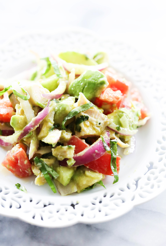 This Chicken Avocado Chopped Salad is a light, healthy and refreshing side dish or meal. So many delicious and fresh ingredients combine to create a beautifully harmonized taste. The chicken adds so much to this dish while making it filling. This will be a recipe you will revisit time and time again.
