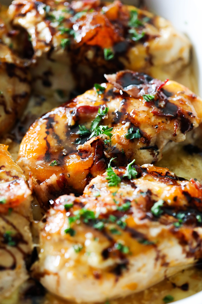 This Apricot Chicken with Brie Cheese and Bacon is such a tremendously flavorful dish. It is sweet, tangy, savory. Brie cheese, apricot, bacon and balsamic pair so well together. This will quickly become a new favorite!