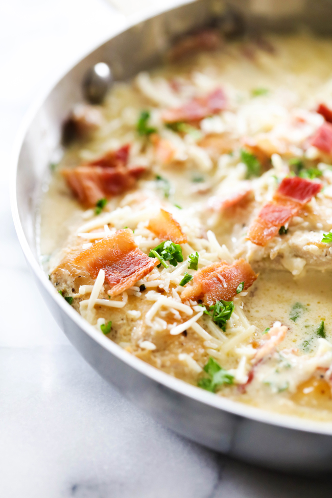 This Garlic Alfredo Chicken is such an easy and flavorful dinner. The creamy garlic alfredo sauce is absolutely heavenly. Crumbled bacon is scattered throughout the dish. The Parmesan cheese provides a bold and delicious flavor that will have everyone coming back for more!