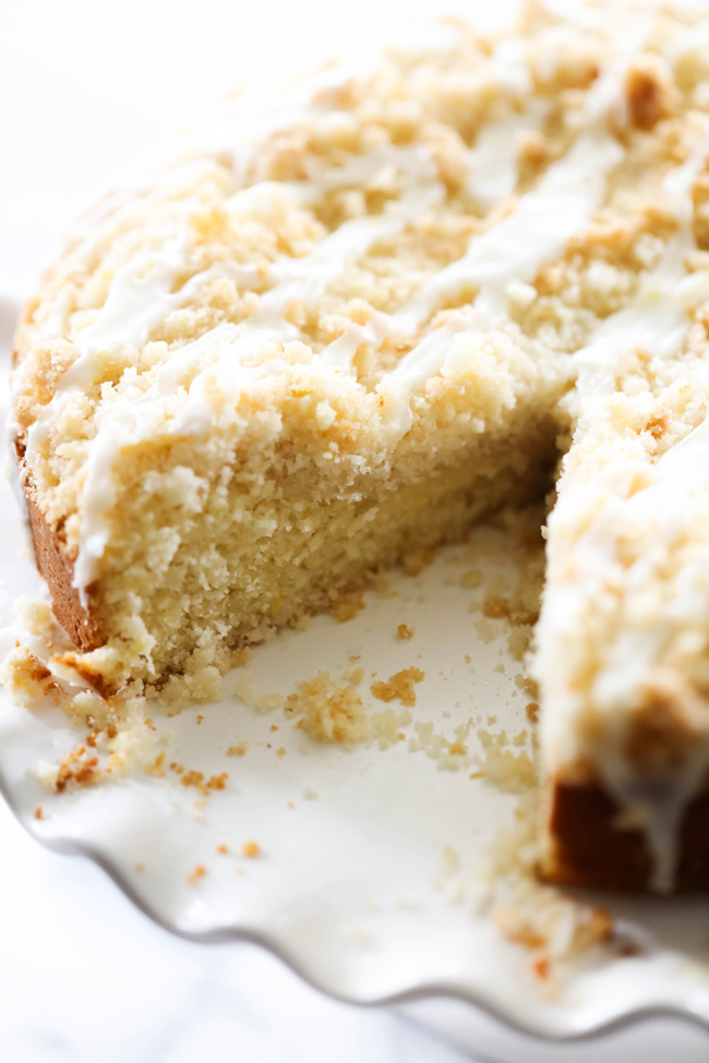 This Lemon Crumb Cake is refreshing and has the perfect crumble on top. The cake is moist and the crumb topping is the perfect addition to compliment it. It has a beautiful lemon citrus flavor is perfect.