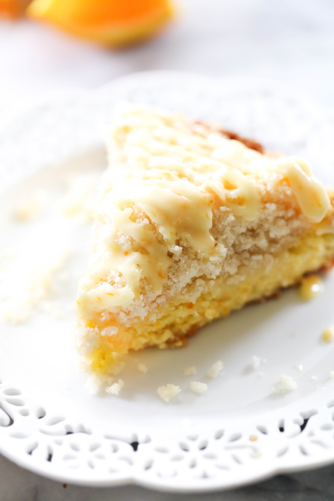 This Orange Coffee Cake is unbelievably moist and has the most delicious and refreshing flavor. The citrus flavor from the orange adds such a wonderful pop of flavor but is subtle enough not to take over the entire recipe. It makes for the perfect summertime breakfast or treat!