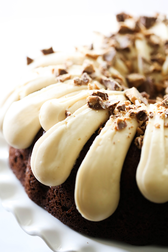 Chocolate Peanut Butter Cheesecake Bundt Cake on a white cake stand.