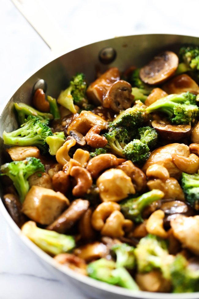 This Chicken Broccoli Stir Fry has so much flavor and a fantastic ingredient line up. Cashews, garlic, and ginger pair so perfectly with the chicken and broccoli. The sauce is divine fabulous. This dinner will become and instant favorite!