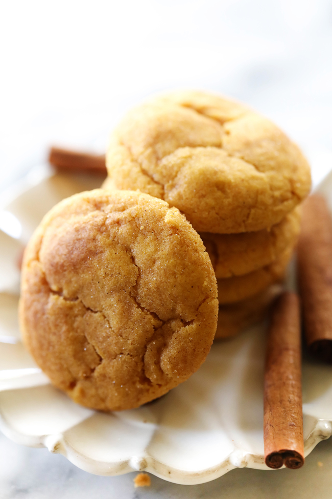 These Pumpkin Snickerdoodles are so soft and delicious. They have the perfect amount of spice and seasonal flavor. They are coated in cinnamon sugar and baked to perfection. These cookies are a wonderful fall treat!