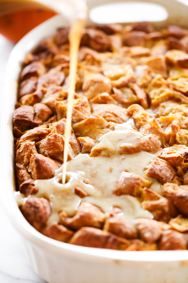 This Pumpkin Bread Pudding is rich and delicious. It is made with croissants which creates a dish that melts in your mouth in delicious flaky layers. It has a delicious pumpkin fall flavor and is topped with a delicious caramel sauce.