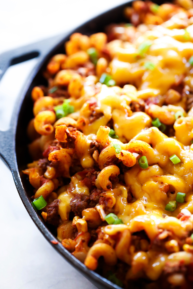 Taco Mac and Cheese displayed in a cast iron skillet.
