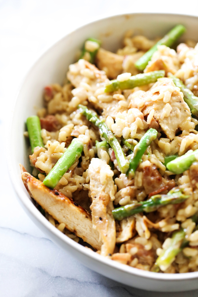This Asparagus Chicken Pancetta Risotto is packed with flavor and delicious ingredients. This recipe is great any time of year. It makes meal time easy because the recipe is loaded with protein and vegetables all in one.
